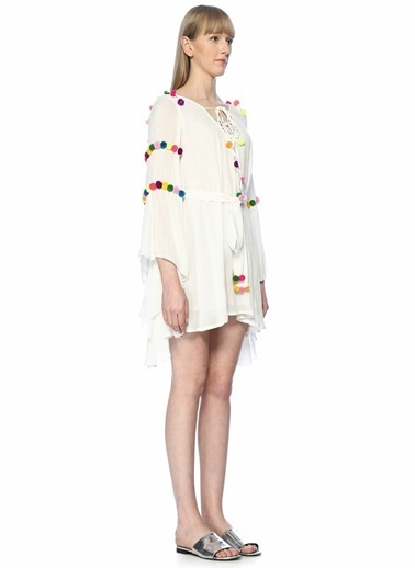 Sundress Yakası Bağcıklı Mini Elbise Beyaz